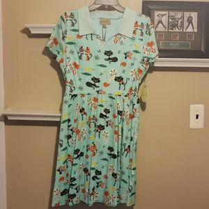 Lindy Bop US 8 Cats Midcentury Day Dress